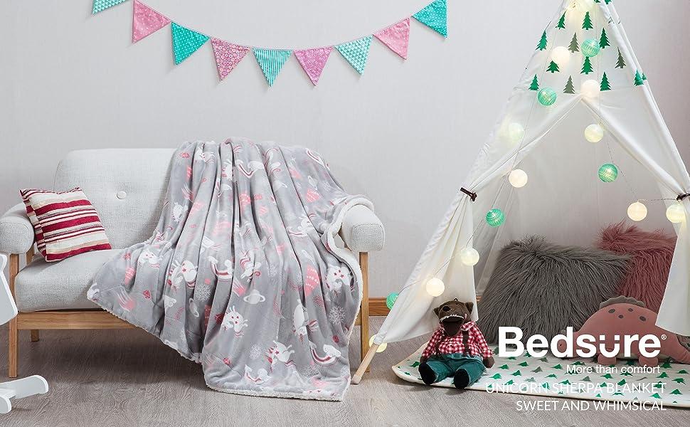 Bedsure Unicorn Sherpa Blanket