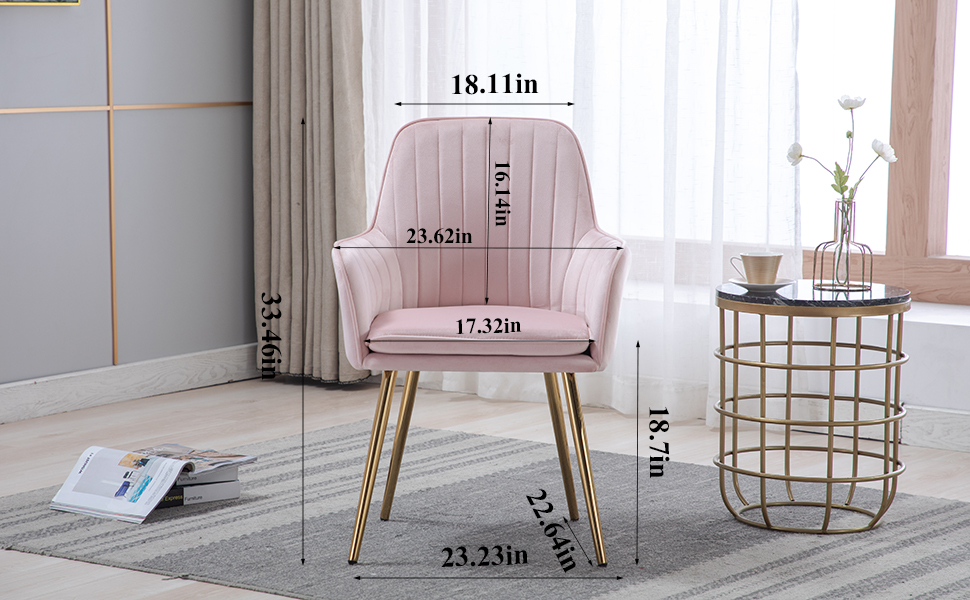 size of pink chair with golden legs