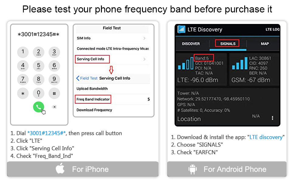 check your frequency band