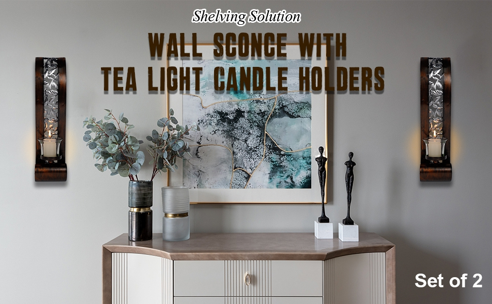 SHELVING SOLUTION CANDLE HOLDER WALL SCONCES,