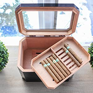 acrylic desk top humidifier case glass top smoker holder humidor cigars humidifier jar accessories