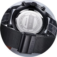 classic mens watch black rugged stainless steel mesh strap and adjustable double buckles