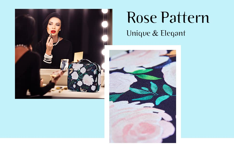 rose pattern makeup bag for women