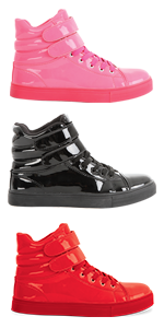 glossy high top, red high top, pink high top, black high top, fashion sneaker