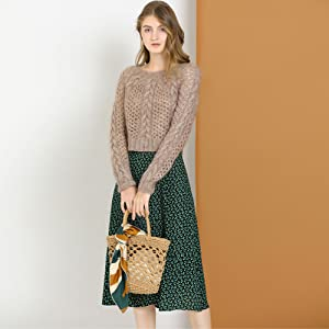Allegra K Women's Peasant Elastic Waist A-Line Midi Leave Print Skirt