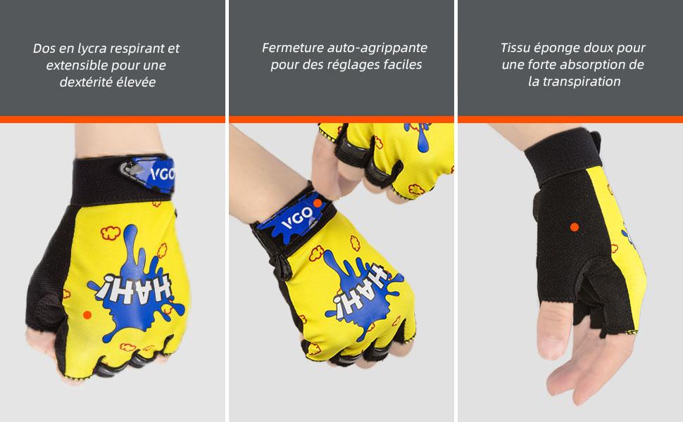 Noir+Jaune, SL2509 Gants de V/élo Demi-Doigts en Cuir Synth/étique pour Enfants Vgo.. Gants de Sport