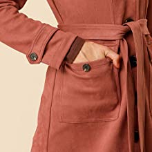 Women's Pockets Tie Waist Single Breasted Mid Thigh Suede Trench Coat Red Brown