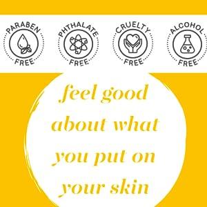 paraben-free, phthalate-free, alcohol-free, cruelty-free