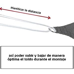 BB Sport Toldo Vela 2.5m x 2.5m x 3.5m Capuchino Triangular HDPE ...