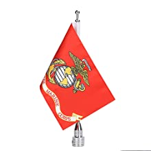 Motorcycle Flag Pole Mount Flag United States Marine Corps Round Luggage Rack USA Flag American Flag