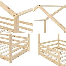 Lit Cabane Enfant avec Protection Anti-Chute Knätten 80x160cm bois naturel pin forme maison matelas