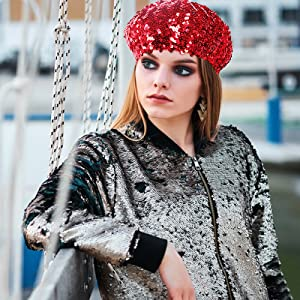 LVOW Womens Fashion Fun Sparkle Sequins Shimmer Stretch Beret Beanie Hat