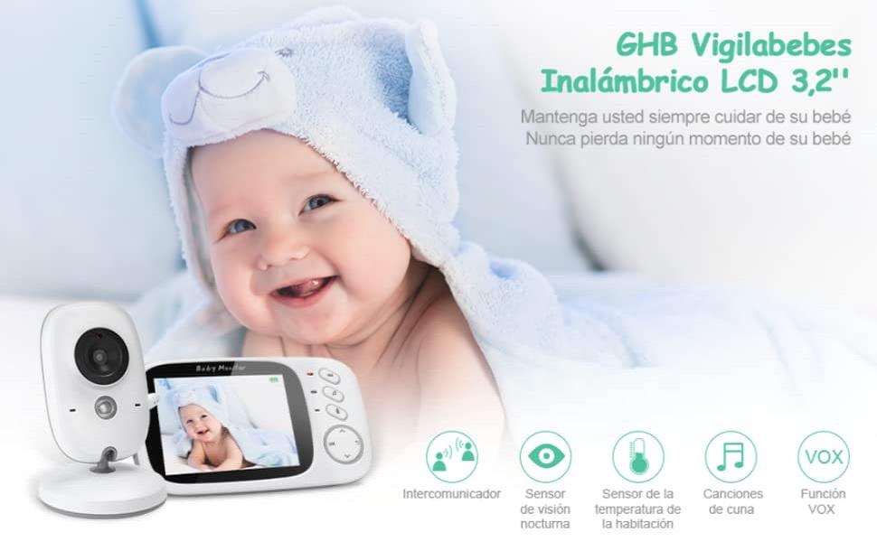 GHB Vigilabebés Inalambrico Bebé Monitor con Cámara Visión Nocturna LCD 3.2 Pulgadas