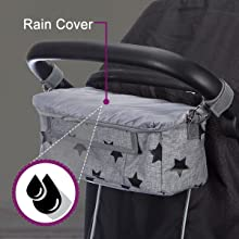 BTR Buggy organiser shown with the black star version with rain cover on top to keep it dry
