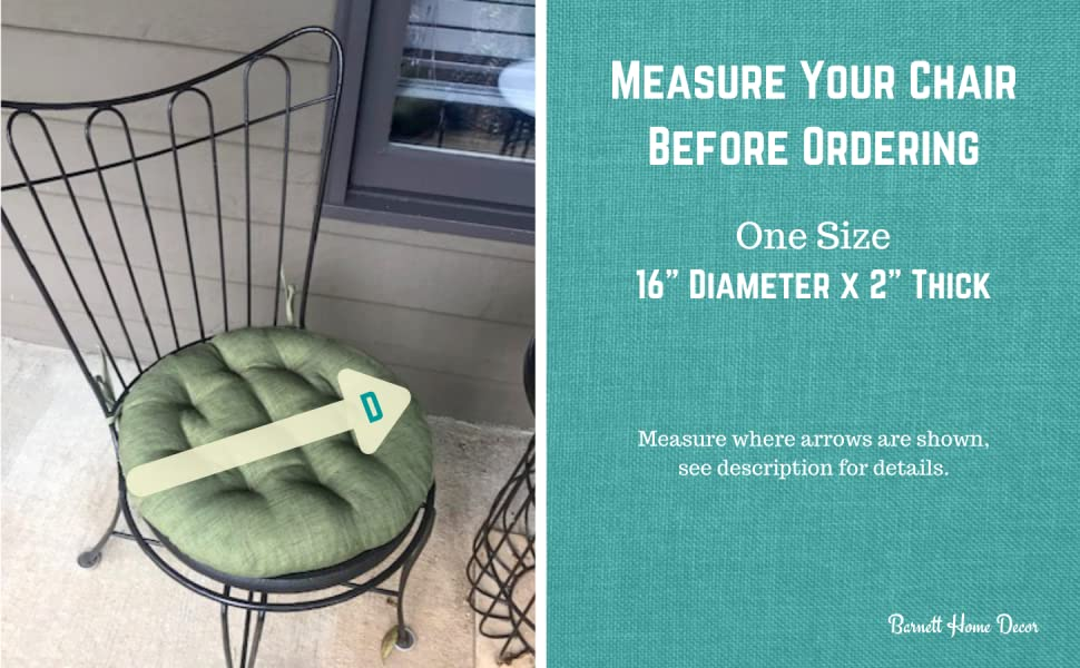 outdoor bistro chair cushion measurements how to round pad sizing barnett home decor size dimensions