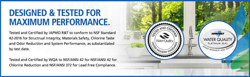 nsf certified, wqa certified, iapmo certified
