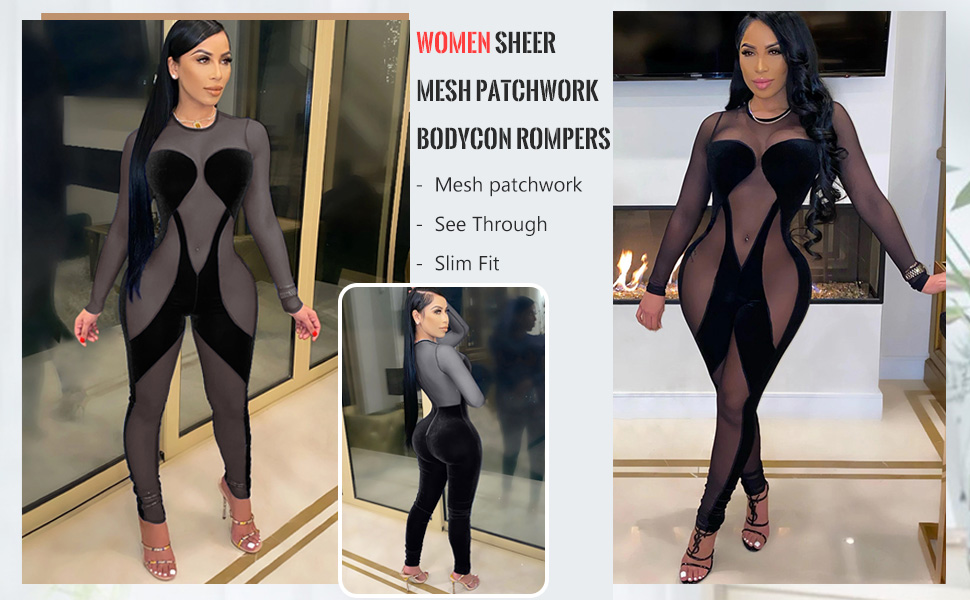sheer jumpsuits for women