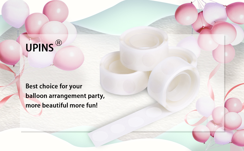 upain 1500 PCS 15 Rolls Double Sided Balloon Glue Dots Removable Adhesive Sticker Tape for Wedding Birthday Party Home Decoration