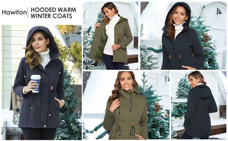 Hawiton Chaqueta de Invierno para Mujer Parka Abrigo C/álido con Capucha Outwear