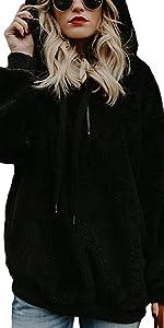 Felpa Donna Maglione in Pile Caldo Cappotto Donna Invernale Sweatshirt Oversize Pullover con Tasche
