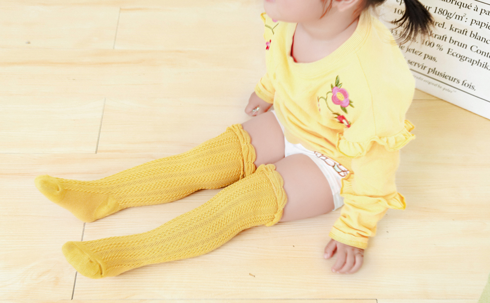 XPX Garment 5 pack Cotton Bow Newborn Baby Girls Knee High Socks Ruffled Toddler Long Socks
