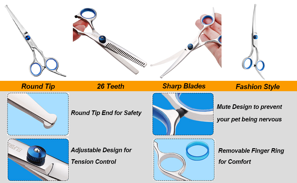 Curved scissors with safety round tip and thinning shears