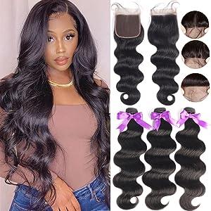 Bundles with Closure Body Wave Brazilian Hair