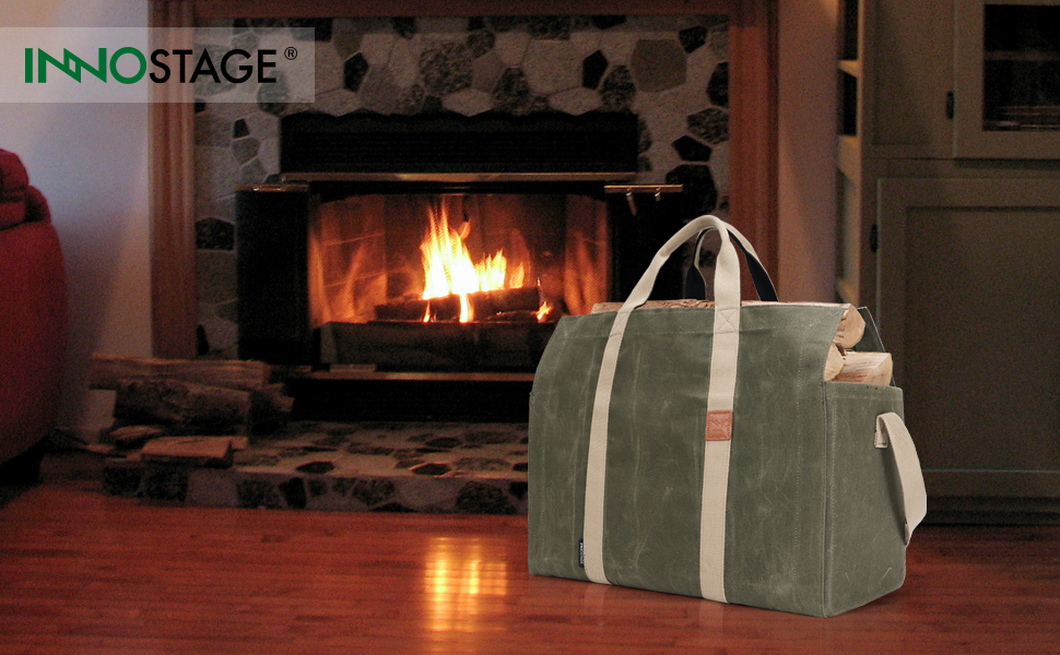 self standing free stand firewood log carrier tote bag