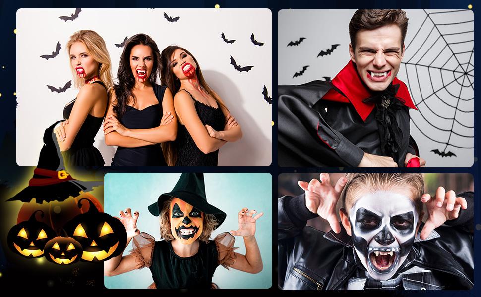 Casecover 2 Paires Dents De Fangs Halloween Party Cosplay Dentiers Prop D/écoration pour Halloween Costume Party Favors 3cm // 2cm