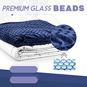 ACOMOPACK Minky Weighted Blanket Queen 15lbs for Adults with Anxiety(60/×80,Blue Breathable Super Soft Warm for Winter,Heavy Blanket with Premium Glass Beads