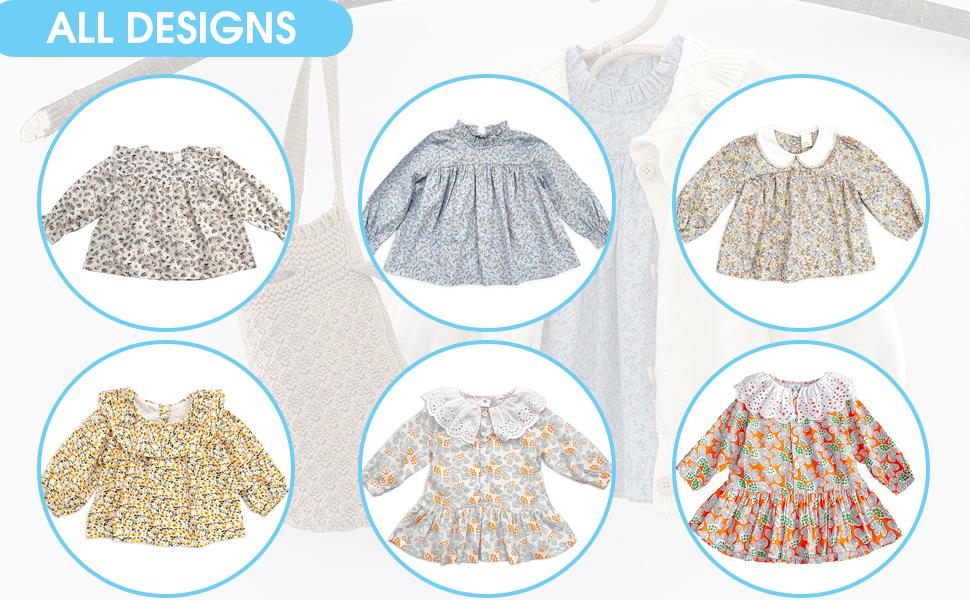 Toddler Girl Tops-Toddler Peter Pan Collar Shirt-Toddler Girl Clothes Fall-Ruffle Shirt…