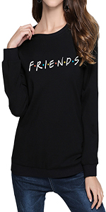 Women's Casual Friends Letter Printed Sweatshirt Funny Graphic Pullover Top