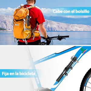 Adecuada para V/álvulas Presta,Dunlop y Schrader Yonntech Mini Bomba de Bicicleta Bomba de Mano Port/átil de Aluminio Alta Presi/ón con Man/ómetro y Aguja para Todos Bicicleta Pelota
