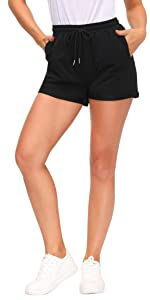 Women's Drawstring Waist Solid Casual Lounge Sweat Shorts with Pockets