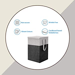 PrettyKrafts Laundry Basket for Clothes with lid & Handles (75 LTR) - Black