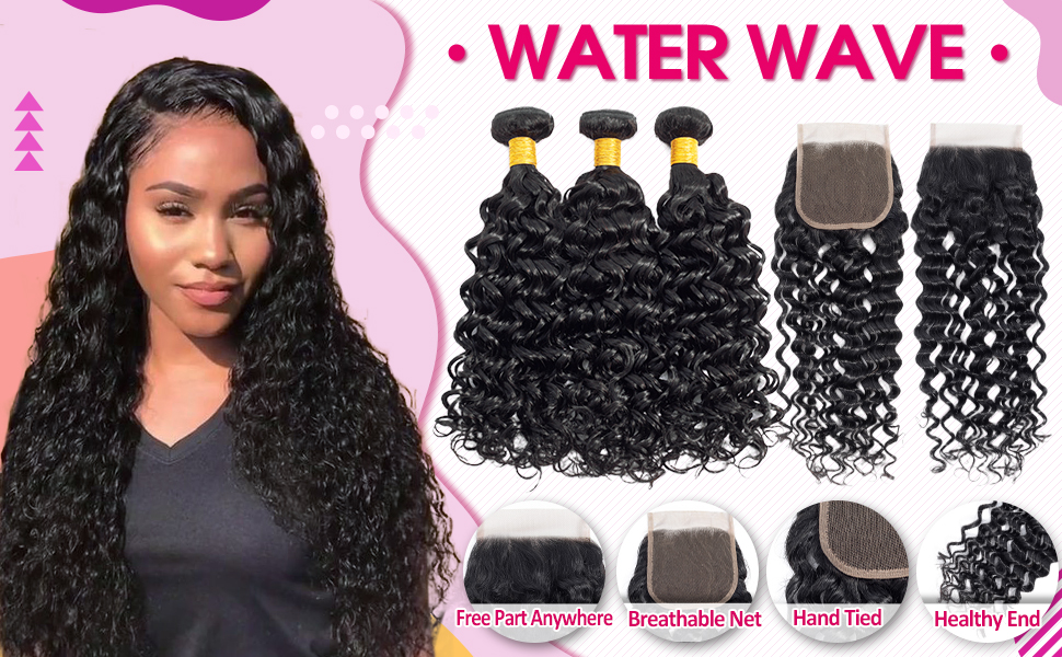 brazilian water wave wet and wavey bundle with closure ocean wave brazilian hair bundles and closure