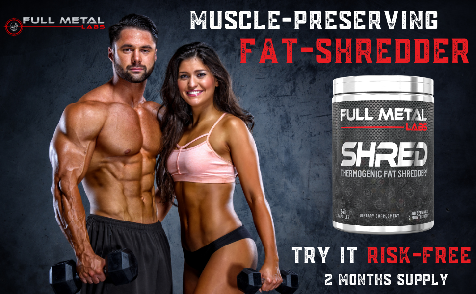 Full Metal Labs Shred Natural fat burner, thermogenic weight loss supplement