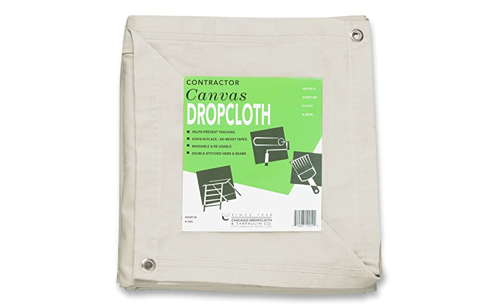 Natural canvas drop cloth with grommets
