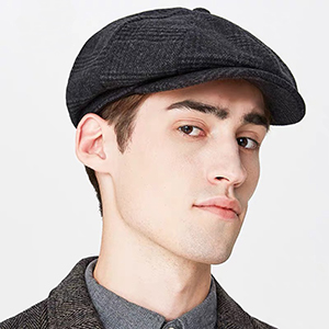 Plaid gatsby hat dark gray