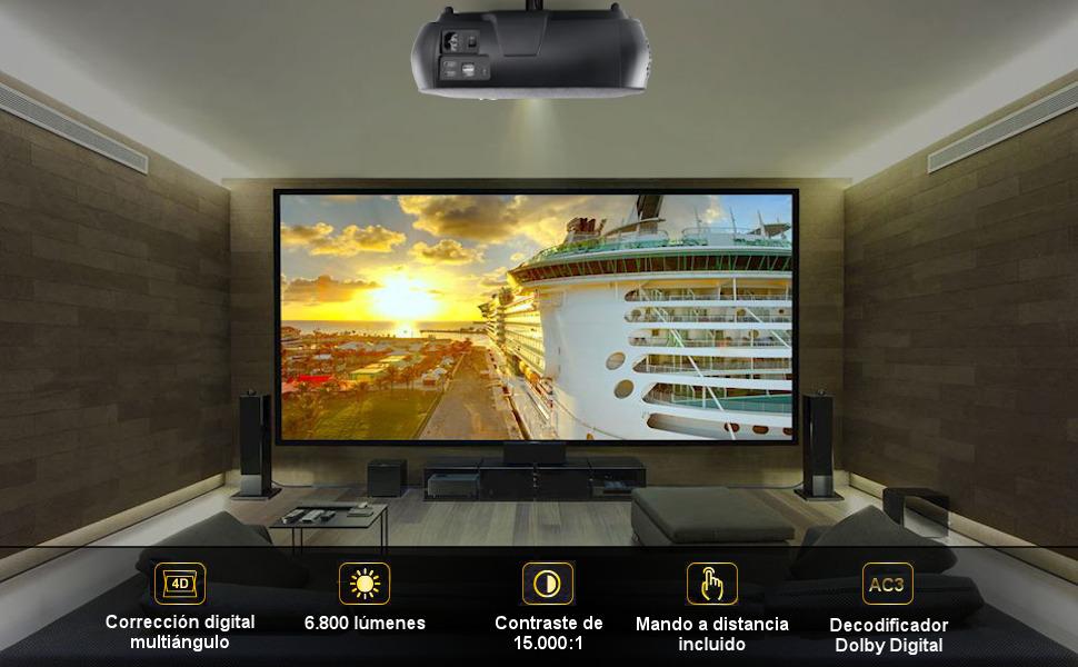 proyector 4k 1080p nativo cine en casa presentaciones portatil led 300 pulgadas