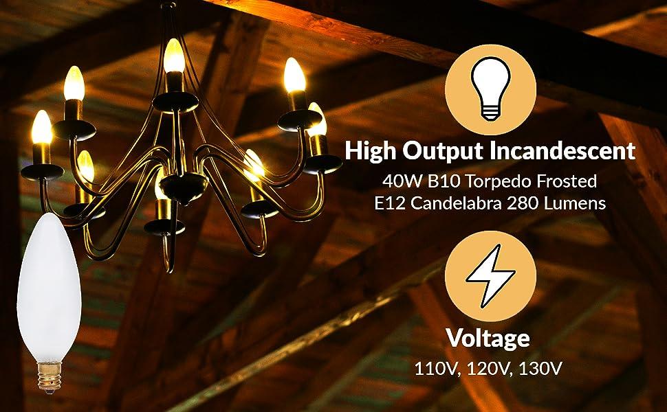 simba lighting b10 ctc c32 torpedo light bulb frosted 40w e12 candelabra base 320 110v 120v 130v