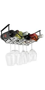 Wallniture Piccola Under Cabinet Wine Rack & Glasses Holder 4 Bottle Organizer Metal Black