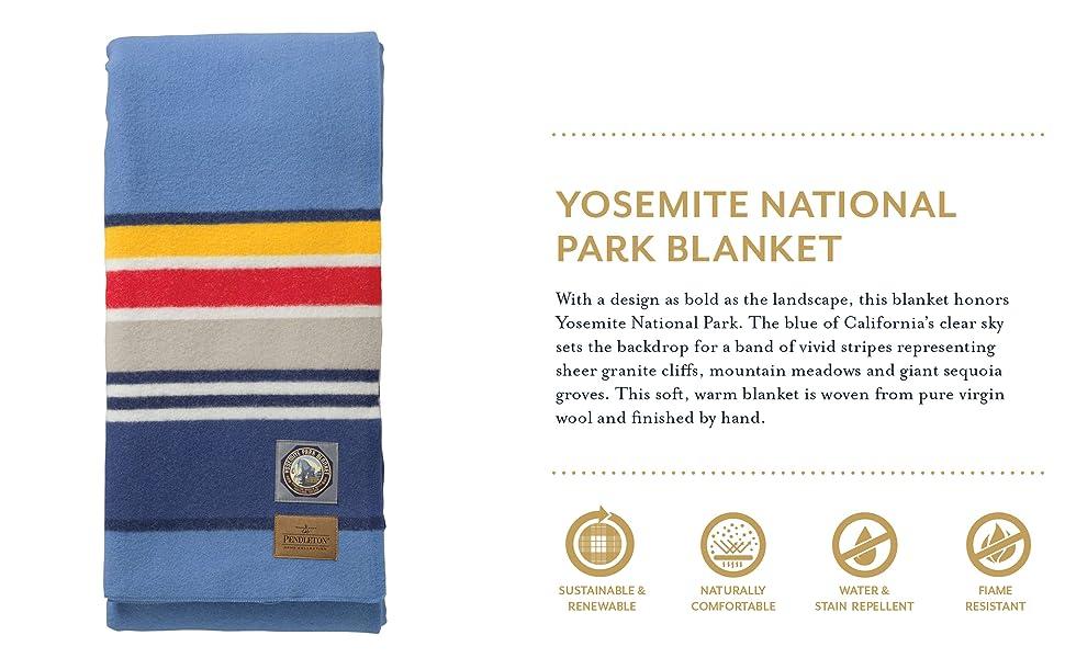 Amazon Com Pendleton National Parks Blanket Yosemite Light Blue Full 80in X 90in Home Kitchen
