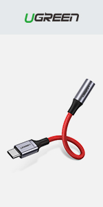 Red Braided USB C to 3.5 mm Jack Adapter