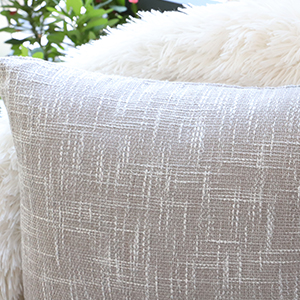 Solid Linen Throw Pillow Covers Decorative Textural Euro Lined Square Throw Pillow Protectors Sham