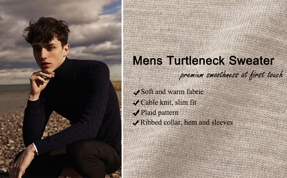 COOFANDY Mens Slim Fit Turtleneck Sweater Cable Knit Ribbed Cotton Pullover Sweaters