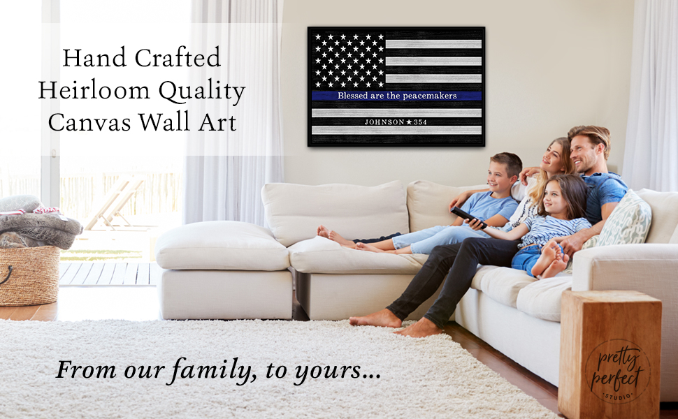 """Custom thin blue line sign to personalize police officer """"blessed are the peacemakers"""" flag canvas"""