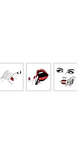"""Fashion Women Sexy Red Lips Beauty Art Painting,Set of 3 (8""""X10""""  Decor"""