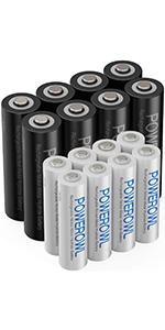 単4単3形充電式ニッケル水素電池16個