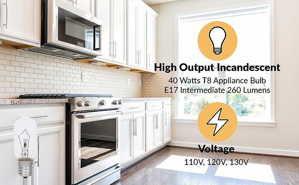 simba lighting t8 appliance light bulb 40w e17 inntermediate screw base 260 lumens 110v 120v 130v